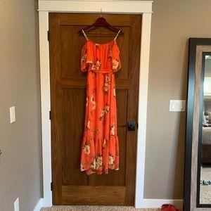 Coral floral maxi chiffon dress